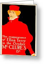 1913 - Mcclures Magazine Poster Advertisement - Ellen Terry - Color Greeting Card