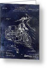 1913 Motorcycle Side Car Patent Blue Greeting Card
