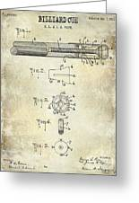1915 Billiard Cue Patent Drawing  Greeting Card