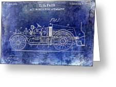 1916 Automobile Fire Apparatus Patent Drawing Lt Blue Greeting Card