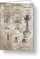 1920 Clock Patent Greeting Card