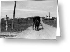 1920s 1930s Amish Man Driving Buggy Greeting Card