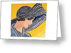 1920s Sun Hat Greeting Card