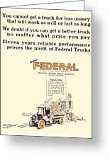 1921 - Federal Truck Advertisement - Color Greeting Card
