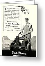 1921 - Moto Mower Lawnmower Advertisement Greeting Card