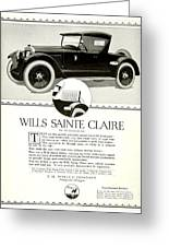 1921 - Wills Sainte Claire Automobile Roadster Advertisement Greeting Card