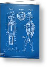 1921 Explosive Missle Patent Minimal Blueprint Greeting Card by Nikki Marie Smith
