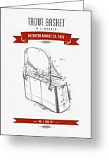 1921 Trout Basket Patent Drawing - Red Greeting Card