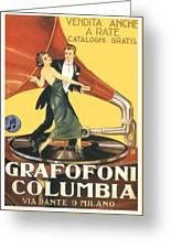 1922 - Columbia Gramophone Company Italian Advertising Poster - Color Greeting Card