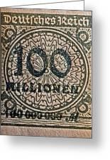 1923 100 Million Mark German Stamp Greeting Card