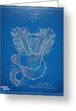 1923 Harley Davidson Engine Patent Artwork - Blueprint Greeting Card by Nikki Smith