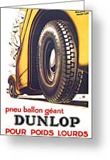 1924 - Dunlop Tires French Advertisement Poster - Color Greeting Card
