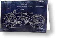 1924 Harley Davidson Motorcycle Patent  Greeting Card