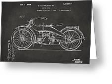 1924 Harley Motorcycle Patent Artwork - Gray Greeting Card
