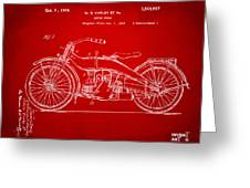 1924 Harley Motorcycle Patent Artwork Red Greeting Card by Nikki Marie Smith