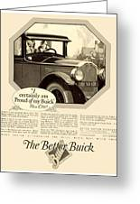 1925 - Buick Automobile Advertisement Greeting Card