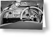 1925 Aston Martin 16 Valve Twin Cam Grand Prix Steering Wheel -0790bw Greeting Card