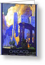 1926 - New York Central Railroad - Chicago Travel Poster - Color Greeting Card