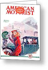 1927 - American Motorist A A A  April Magazine Cover - Color Greeting Card