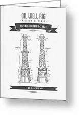 1927 Oil Well Rig Patent Drawing - Retro Gray Greeting Card