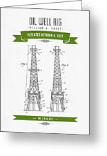 1927 Oil Well Rig Patent Drawing - Retro Green Greeting Card
