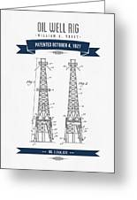 1927 Oil Well Rig Patent Drawing - Retro Navy Blue Greeting Card