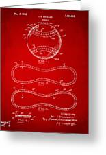1928 Baseball Patent Artwork Red Greeting Card