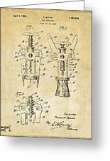 1928 Cork Extractor Patent Art - Vintage Black Greeting Card