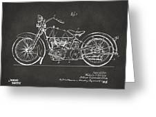 1928 Harley Motorcycle Patent Artwork - Gray Greeting Card by Nikki Marie Smith
