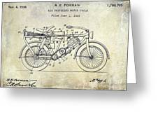 1928 Motorcycle Patent Drawing Greeting Card