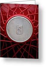 1928 Rolls-royce Phantom I Sedenca De Ville Wheel Emblem Greeting Card