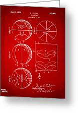 1929 Basketball Patent Artwork - Red Greeting Card