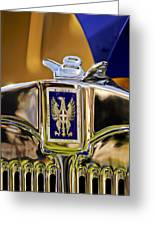 1929 Bianchi S8 Graber Cabriolet Hood Ornament And Emblem Greeting Card