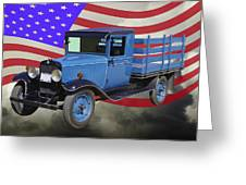 1929 Blue Chevy Truck And American Flag Greeting Card