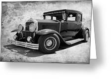 1929 Buick Black And White Greeting Card
