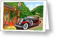 1929 Cadillac Dual Cowl Phaeton And Pegasus Greeting Card