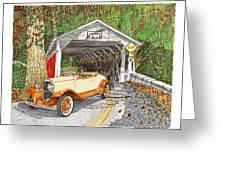 1929 Chrysler 65 Covered Bridge Greeting Card