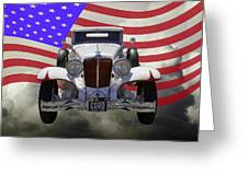 1929 Cord 6-29 Cabriolet Antique Car With American Flag Greeting Card