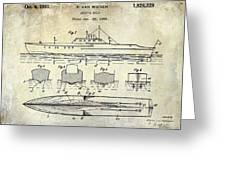 1930 Ship's Hull Patent Drawing Greeting Card