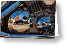 1930 Ford Reflected In 2005 Honda Vtx Greeting Card