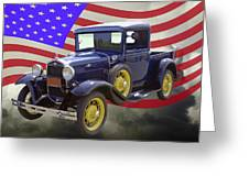 1930 Model A Ford Pickup Truck And American Flag Greeting Card