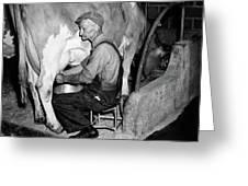 1930s 1940s Elderly Farmer In Overalls Greeting Card