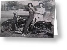 1930's Indian Motorcycle Mama Greeting Card