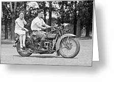 1930s Motorcycle Touring Greeting Card by Daniel Hagerman