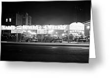 1930s New And Used Car Lot At Night Greeting Card