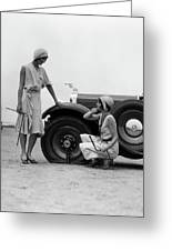 1930s Two Women Confront An Automobile Greeting Card