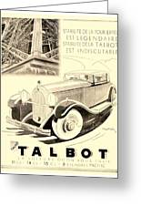 1931 - Talbot French Automobile Advertisement Greeting Card