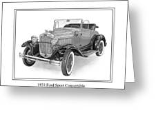 1931 Ford Convertible Greeting Card by Jack Pumphrey