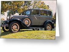 1931 Ford Sedan On Hill At Greenfield Village In Dearborn Michigan Greeting Card