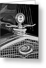 1931 Model A Ford Deluxe Roadster Hood Ornament 2 Greeting Card